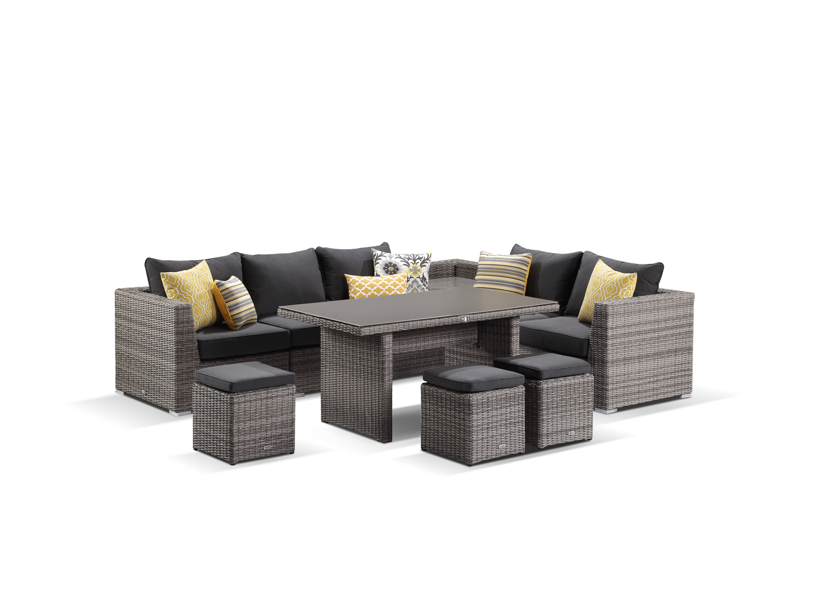 Moonscape teak dining settings with all of our outdoor furniture